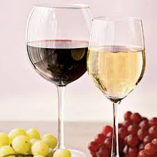 Wine red white with grapes